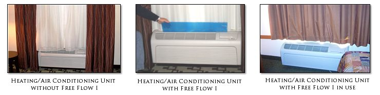 Free Flow I Air Deflector<br> for PTAC, Heating & Air Conditioning Units in Hotels, Motels & Inns